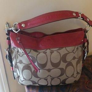Coach hobo shoulder bag signature red leather trim
